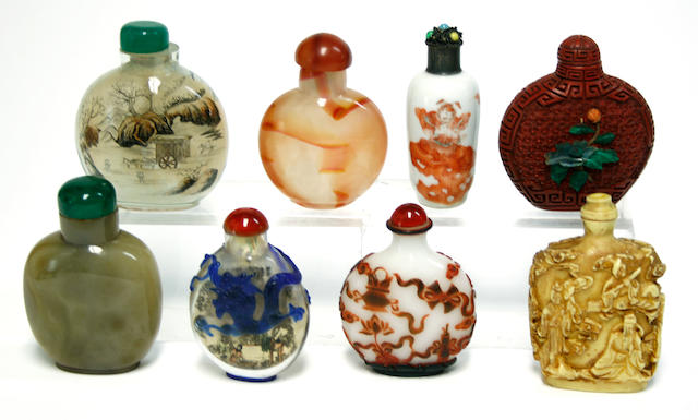 A group of eight Chinese snuff bottles