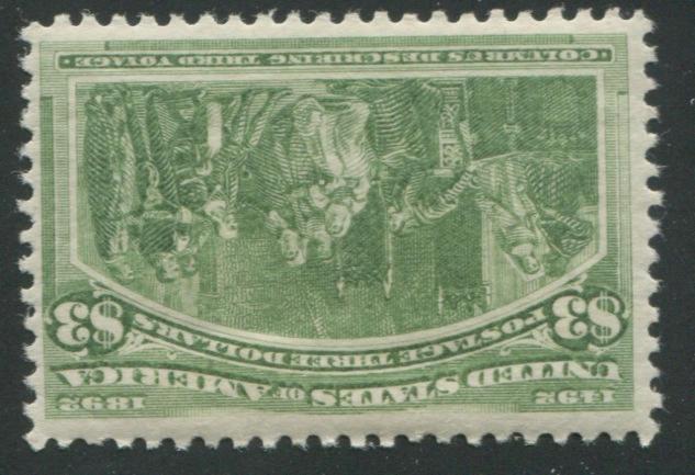 $3.00 Columbian (243) fresh, lightly hinged, fine. $1,600.00
