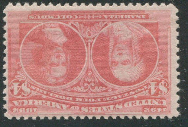 $4.00 Columbian (244) lightly hinged, fresh and fine. $2,150.00