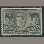 $5.00 Columbian (245) lightly hinged, one blind perf., fresh and very fine. $2,600.00