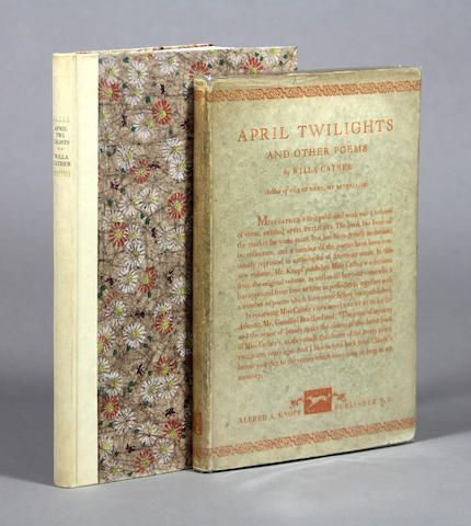 CATHER, WILLA. April Twilights. New York: Alfred A. Knopf, 1923.
