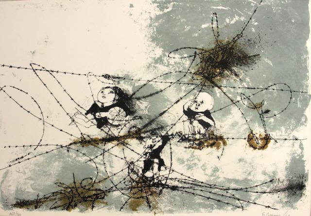 Giacomo Porzano (Italian, born 1925); Children Behind Barbed Wire; (2)
