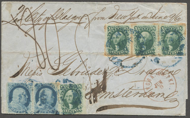 "1857-61 1c blue type V, 10c green type V (24,35) ten cent strip of three and single, one cent pair (perf. stains), all tied by indistinct blue New York c.d.s. strikes on 1860 folded letter sheet bearing red NEW YORK AM.PKT. JUN 9 c.d.s., ms. ""Per City of Glasgow"", London transit and Amsterdam 25 6 1860 receiver on reverse, impressive franking. Est. Cash Value $500-600"