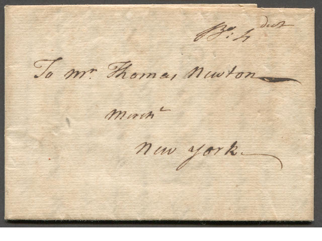 "Stampless Cover John Rowe Boston 1764 folded letter to New York date-lined Boston Feb 29th 1764 and bearing ms. ""Bo:Sh"" (Boston Ship). Interesting referral about small pox epidemic in Boston and ""no person is admitted there without undergoing a severe smoking"". Rowe, a prominent merchant, would later find fame as owner of ""Eleanor"", one of the ships involved in the Boston Tea Party and by his purported quote ""perhaps salt water and tea will mix tonight!"". an historic leap day letter."