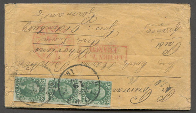 "10c green type II, III (14, 15) vertical strip of three, types II, III, II, margins to touched, tied by PEORIA DEC 19 c.d.s. strikes on manila envelope bearing red NEW YORK 7 DEC 24(c) PAID and boxed AACHEN FRANCO transit, ms. ""Per Prussian (Closed Mail)"", to Oldenburg, Germany, few edge faults otherwise fine. Old H.R. Harmer lot nos. on reverse, one in a very familiar hand.  Est. Cash Value $250-300"