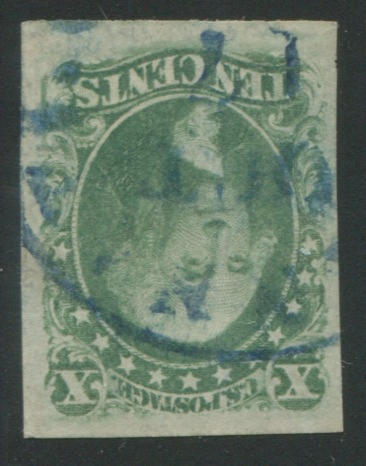 10c green type III (15) very large copy, blue c.d.s., almost imperceptible crease, still extremely fine  $190.00