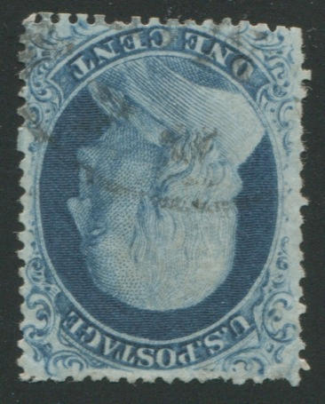 1c blue type III (21) used, reperfed at bottom, appears very fine, with P.F. certificate (1989)  $2,750.00