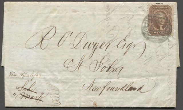 "5c brown (30A) fine copy tied by Boston PAID on 1860 folded letter bearing ms. ""Via Halifax"" to Newfoundland. On reverse BOSTON BR PKT and ST JOHNS JL 2 receivers. Rare. Ex. Pratt  $325.00"