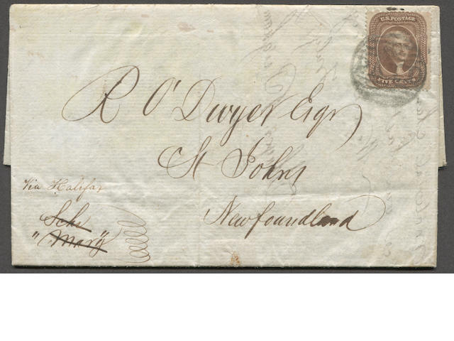 "5c brown (30A) fine copy tied by Boston PAID on 1860 folded letter bearing ms. ""Via Halifax"" to Newfoundland. On reverse BOSTON BR PKT and ST JOHNS JL 2 receivers. Rare. Ex. Pratt  Est. Cash Value $300-350"