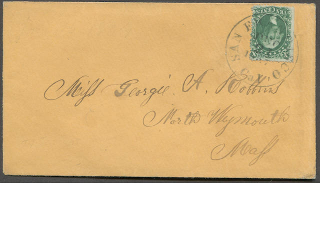 10c green type I (31) fine straight edge copy, tied by SAN FRANCISCO DEC 21 c.d.s. on fresh manila cover to Mass.  Ex. Pratt. Est. Cash Value $150-180