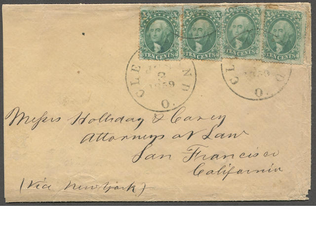"10c green type III (33) four singles, fine to irregular perfs, tied by CLEVELAND JUN 3 1859 c.d.s. strikes on envelope to San Francisco bearing ms. ""(Via New York)"" paying the quadruple rate Est. Cash Value $250-300"