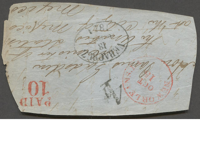 "Stampless Cover, 1854 Front to James Gadsden (The Gadsden Purchase) bearing red NEW ORLEANS OCT to Mexico City vian VERA CRUZ (dated oval). ""PAID 10"" prepaid U.S. rate and ship fee ""4"" reales handstamp Mexican rate. On exhibition page.   Est. Cash Value $150-200  James Gadsden, a prior President of the South Carolina Railroad, was an advocate of a transcontinental railroad via a southern route. He was appointed by President Pierce as the Minister to Mexico and negotiated the Gadsden Treaty leading to the Gadsden Purchase by which the U.S. acquired the southern section of Arizona and the southwestern portion of New Mexico, simplifying the construction of an east-west railway line."