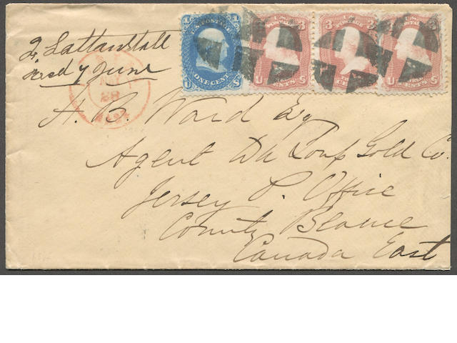 "1c blue, 3c Rose (63,65) 1c single, 3c three copies, usual centering, tied by segmented cork cancel on neat envelope to Canada bearing red BOSTON MAY 28 c.d.s.(origin) and various ""L.C."" c.d.s. strikes to Jersey Post Office, County Beauce, Canada East. Est. Cash Value $100-150"