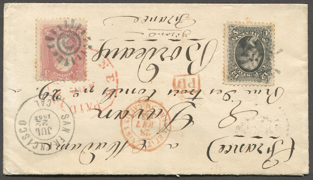 12c black, 3c Rose (69,65) 12c, couple of tiny perf stains, fine, and 3c rose tied by cogwheel cancels on neat small envelope to France bearing SAN FRANCISCO JUL 22 1863 c.d.s., red NEW YORK PAID, boxed PD, and Calais entry, with Paris transit and Bordeaux receiver on reverse. Very attractive Est. Cash Value $120-150
