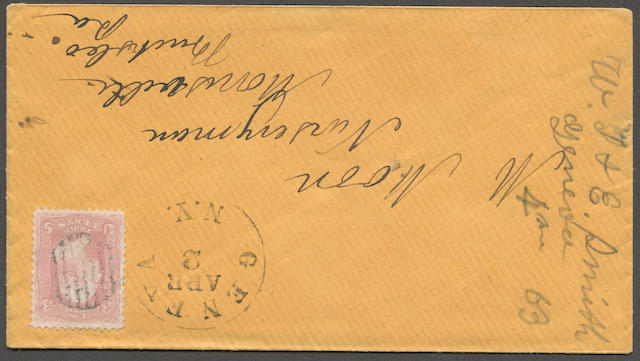 3c Rose Pink (64b) very fine, cancelled by neat (probably 1863) orange envelope to Morrisville, Pa., bearing GENEVA APR 2 N.Y. c.d.s., very attractive. Est. Cash Value $100-120