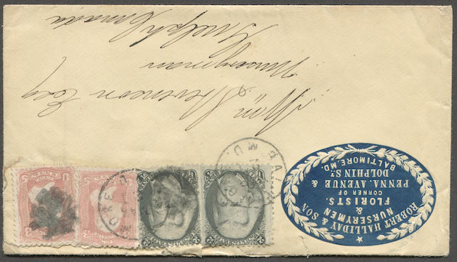 "2c black, 3c Rose (73,65) two ""Black Jacks"", one straight edge, and two 3c tied by BALTIMORE MAR 21 c.d.s. strikes on attractive 1867 embossed blue ROBERT HALLIDAY & SON NURSERYMEN & FLORISTS corner card envelope bearing GUELPH C.W. receiver on reverse. Old H.R. Harmer lot # on reverse in familiar hand. Est. Cash Value $200-250"