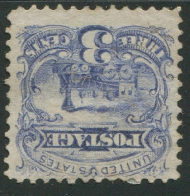 3c Ultramarine (114var) unused, perfs clear at top, no discernible grill,tear at left, still fine appearance. $10,000.00 with gum