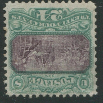 24c green and violet (120) unused, perfs clear of design, reperfed at left, otherwise fine. $3,500.00