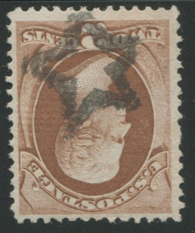 2c red brown (135), hollow star cancel, very fine and rare. Est. Cash Value $100-120