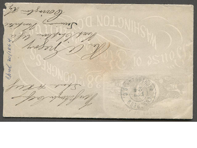 Stampless Cover, 1864 Free Frank, Schuyler Colfax, Speaker H. Rep.(1863-69) signature on all over gray 38th Congress, House of Representatives Washington D.C. envelope to Kentucky bearing double circle Congress FEB 24 WASHINGTON D.C. c.d.s.  Est. Cash Value $200-250  As Speaker of the House under Abraham Lincoln then Andrew Johnson, Colfax announced the passage of the Thirteenth Amendment, abolishing slavery. He later served as 17th Vice-President of the United States under U.S. Grant but was replaced as the party's nominee for a second term in 1872, due to his involvement in the Credit Mobilier of America / Union Pacific Railroad Scandal.