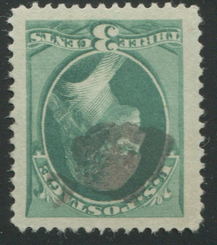 3c green (184) enormous margins, neat black cork cancel, superb stamp. PSE certificate XF95J (2005), P.F. certificate (2004). SMQ 95 $135, 98 $470