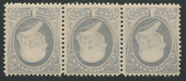 1c gray blue re-engraved (206) strip of three, never hinged, fine-very fine. $780.00+