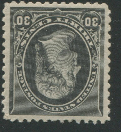 30c black (278) well centered, very lightly hinged, extremely fine, with P.F. certificate (2001). $400.00