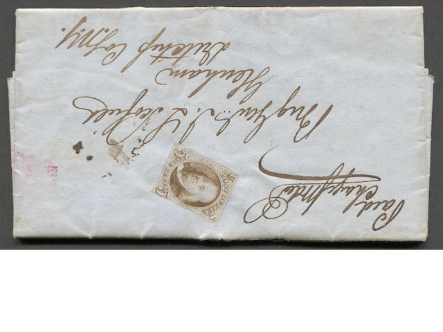 5c red brown (1) uncancelled, two margined copy on 1850 folded letter. Roster report from 22nd Regiment N.Y. Militia Headquarters to Glenham, N.Y. Addressed ti Brig. Gen. J.L. Scofield for whom the Scofield Barracks on Hawaii was named. Retail value for unused copy $2,400.00  Est. Cash Value $300-400