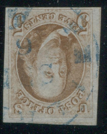 5c red brown (1) very good to large margins all round, portions of adjacent stamps top and left, blue c.d.s., very fine.  $650.00