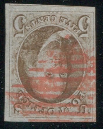 5c red brown (1) large margins three sides, good other, showing portion of adjacent stamp at bottom, red grid cancel, very fine.  $500.00