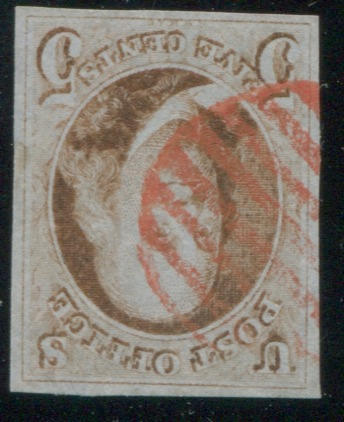 5c red brown (1) good margins all round, red grid cancel, very fine. $500.00