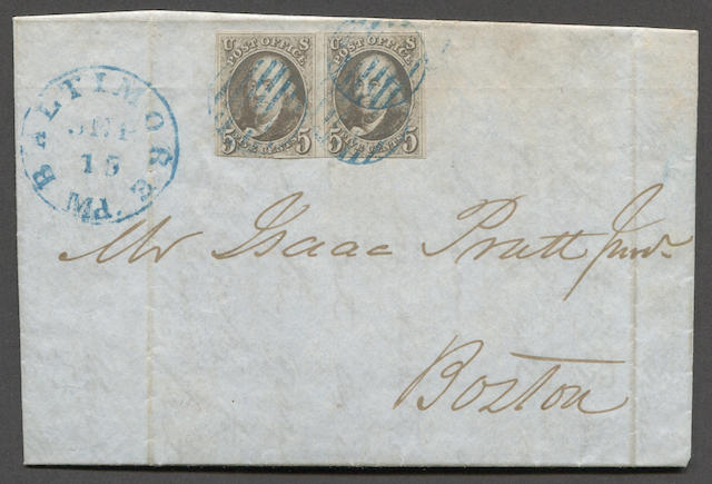 5c red brown (1) pair, in or touched at bottom, tied by blue grids on Sept. 15, 1847 folded letter to Boston bearing matching blue BALTIMORE SEP 15 Md. c.d.s.  Est. Cash Value $200-250
