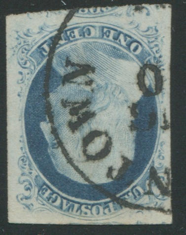 1c blue type IV (9) showing recuts twice at top and once at bottom, only four as such on plate, superb, with 2005 (and 1999) P.S.E. certificate graded XF90J $225.00+