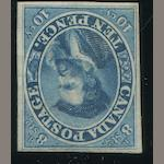 1855 10p blue (7) unused, very fine. $6,500.00