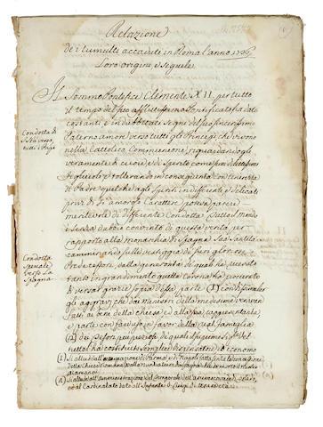 [PHILLIPPS, THOMAS. 1792-1872.] 6 manuscript reports concerning riots in Rome, including: [CONTI, ANTONIO, attrib.] Relazione de i tumulti accaduti in Roma l'anno 1736, loro origini e sequele.
