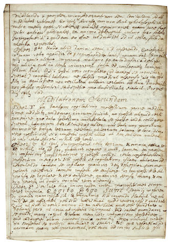 [DESCARTES, RENE. 1596-1650.] MURRAY, JOHN. Fragment of a manuscript on paper, in Latin,