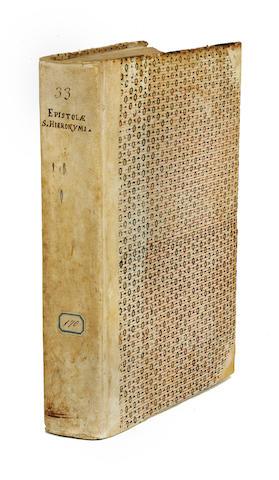JEROME, SAINT. 340?-420. Epistolae. WITH: LUPUS DE OLIVETO. Regula monachorum ex Epistolis Hieronymi excerpta. Venice: Johannes Rubeus Vercellensis, January 7, 1496, July 12, 1496.
