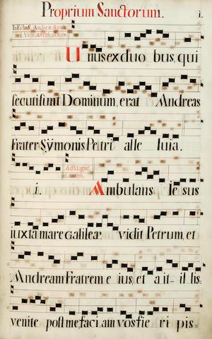 ANTIPHONAL. [In manuscript:]  Antiphonale de Sanctis per Totum Annum. 1730.