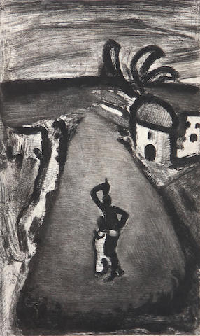 George Rouault, from Reincarnations du Pere Ubu, (C./R. 30) 1928, etching and aquatinit, 12.5 x 8.5 sight