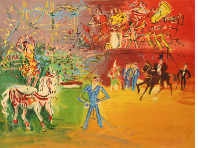Jean Dufy, Le Cirque, c. 1950, Color lithograph, signed and numbered 173 of 22, 20.5 x 25.5inches