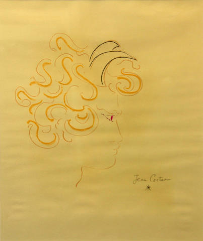 Jean Cocteau (French, 1889-1963) Figure in profile sight 23 1/2 x 18 3/4in