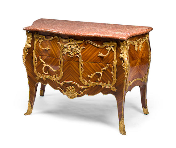 A Louis XV style gilt bronze mounted kingwood commode<BR />circa 1900