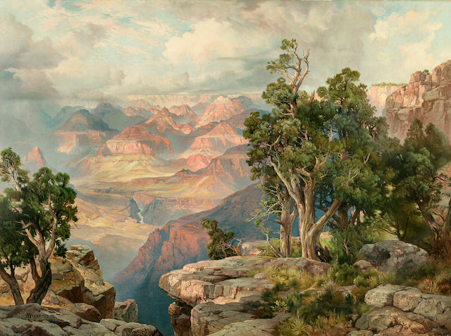 MORAN, THOMAS. 1837-1926. Grand Canyon of Arizona From Hermit Rim Road. [Chicago: Atchison Topeka & Santa Fe Railway System, 1913.]