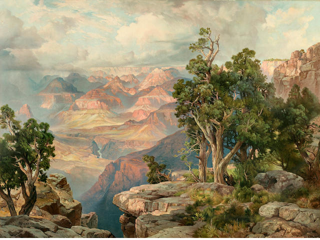 MORAN, THOMAS. 1837-1926, after. Grand Canyon of Arizona From Hermit Rim Road. [Chicago: Atchison Topeka & Santa Fe Railway System, 1913.]