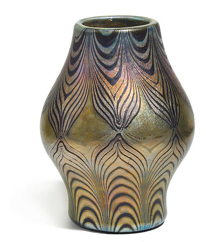A Tiffany Studios Favrile decorated glass vase circa 1904