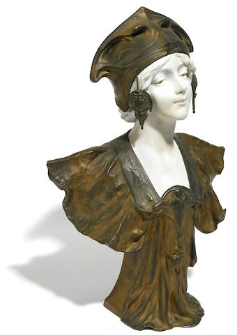A French Art Nouveau porcelain and spelter bust of a maiden early 20th century