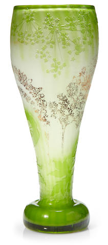 A Galle cameo glass Queen Anne's Lace vase circa 1900
