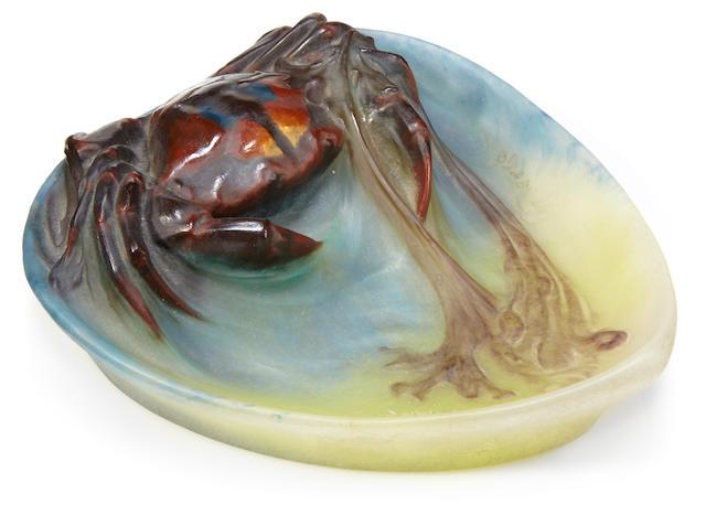 An A. Walter pate-de-verre crab vide poche