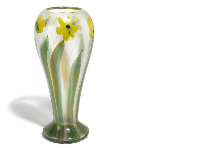 A Tiffany Studios Favrile paperweight glass Daffodil vase circa 1912