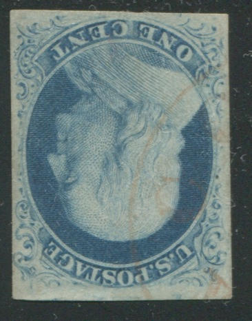 1c blue type II (8): position 73L4, good margins all round, light red c.d.s. cancel, tiny thin, still almost very fine, with P.S.E. certificate (2003). $3,000.00